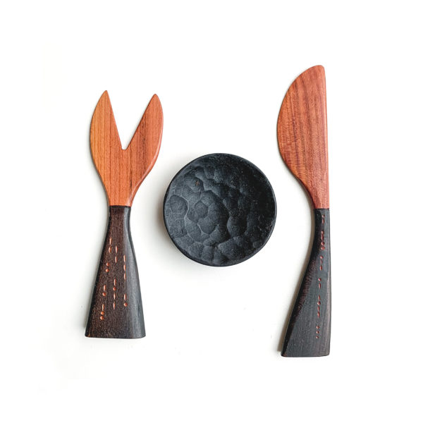 Plum wood fork and knife